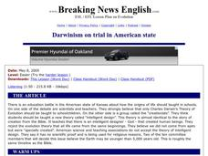 Darwinism on Trial in American State - Easier Version Worksheet