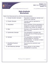 Data Analysis Worksheet Worksheet