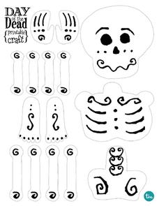 Day of the dead printable craft kindergarten 6th grade for Day of the dead crafts for preschoolers