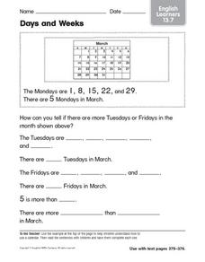 Days and Weeks English Learners 13.7 Worksheet
