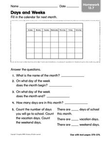 Days and Weeks Worksheet