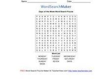 Days of the Week Word Search Puzzle Worksheet