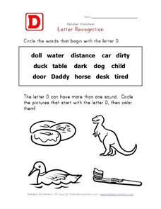 Dd Letter Recognition Worksheet