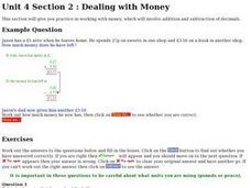 Dealing With Money and Measurement- Addition and Subtraction of Decimals Worksheet