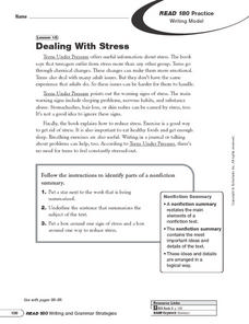 Dealing with Stress Writing Model Worksheet