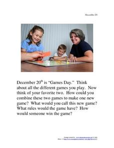 December 20 - Games Day Worksheet