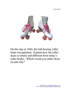 December 9, 1884 - Roller Skates Worksheet