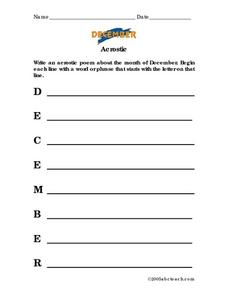 December Acrostic Poem Lesson Plan