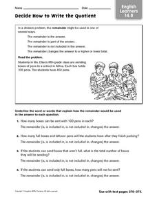 Decide How to Write the Quotient: ELL Worksheet