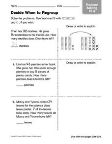 Decide When to Regroup Problem Solving 12.4 Worksheet