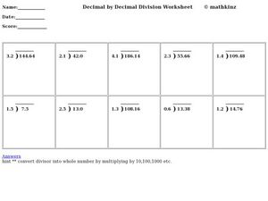 Decimal by Decimal Division Worksheet