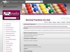 Decimal Fractions of a Set Lesson Plan