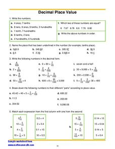 math worksheet : decimal place worksheets 6th grade  worksheets on study  writing  : Decimal Places Worksheet