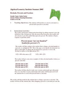 Decimals, Percents and Fractions Lesson Plan