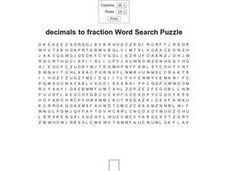 Decimals to Fraction Word Search Puzzle Worksheet