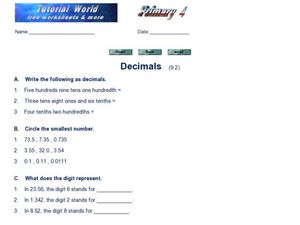 Decimals: Worksheet 2 Worksheet