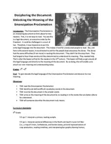 Worksheets Emancipation Proclamation Worksheet deciphering the document unlocking meaning of emancipation proclamation lesson plan