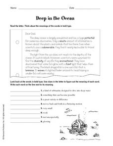Deep in the Ocean Worksheet