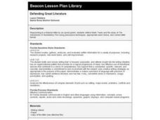 Defending Great Literature Lesson Plan