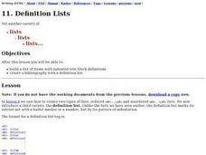 Definition Lists Lesson Plan