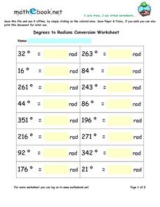 Degrees to Radians Conversion Worksheet Worksheet