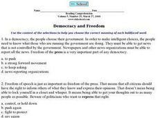 Democracy and Freedom Worksheet