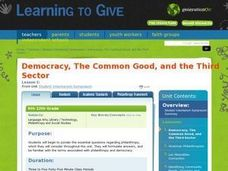 Democracy, The Common Good, and the Third Sector Lesson Plan