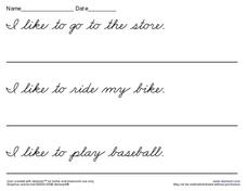 DeNelian Cursive Sentences Worksheet