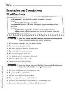 Printables Connotation And Denotation Worksheets denotations and connotations word overtones 5th 8th grade worksheet