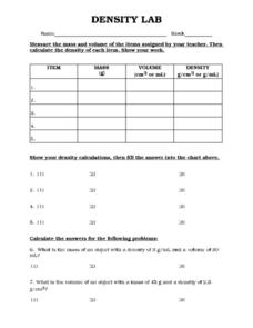 density lab 9th 10th grade worksheet lesson planet. Black Bedroom Furniture Sets. Home Design Ideas
