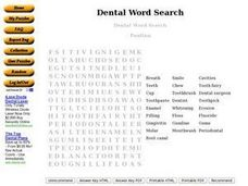 Dental Word Search Worksheet