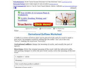 Derivational Suffixes Worksheet Worksheet