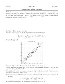 Derivatives of Inverse Functions Worksheet