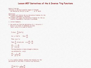 Derivatives Of The 6 Inverse Trig Functions Lesson Plan