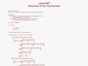 Derivatives Of The Trig Functions Lesson Plan