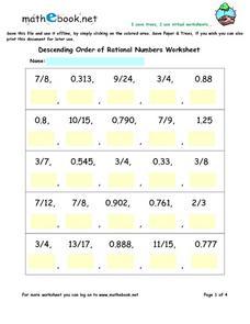 descending order of rational numbers worksheets 6th 8th grade worksheet lesson planet. Black Bedroom Furniture Sets. Home Design Ideas