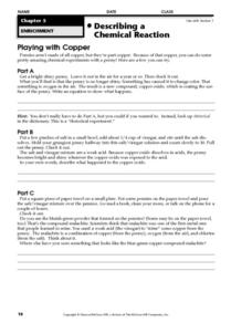 Describing a Chemical Reaction: Playing with Copper Worksheet