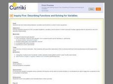 Describing Functions and Solving for Variables Lesson Plan