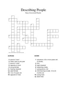 Describing People Easy Crossword Puzzle Worksheet