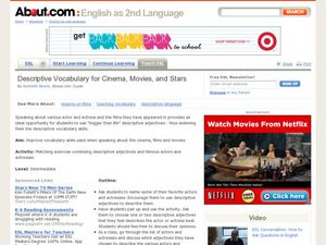 Describing Vocabulary for Cinema, Movies, and Stars Lesson Plan