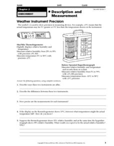 Description and Measurement Worksheet