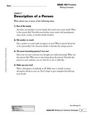 Description of a Person and Adding Character Details Worksheet