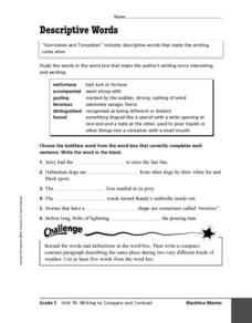 Descriptive Words Worksheet