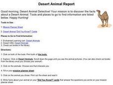 Desert Animal Report Worksheet