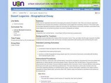 Desert Legacies -- Biographical Essay Lesson Plan