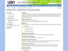 Desktop Pub. - Quark XPress 2: Business Cards Lesson Plan