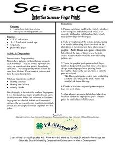 Detective Science-Finger Prints Lesson Plan