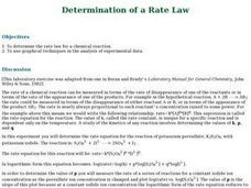 Determination of a Rate Law Lesson Plan