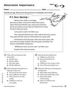 Determine Importance: A New Spring Worksheet