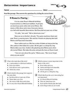 Determine Importance: Rosa's Party Worksheet